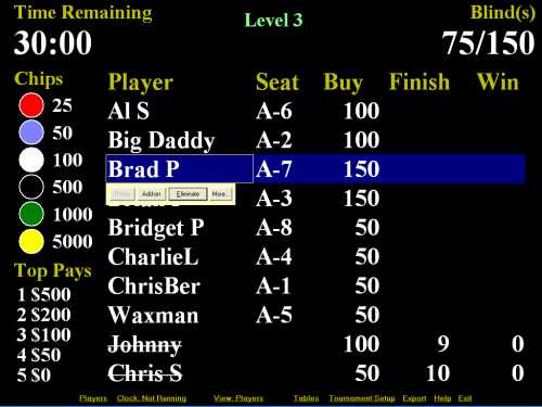 Click to view Poker Tournament Manager Deluxe 5.0.2 screenshot